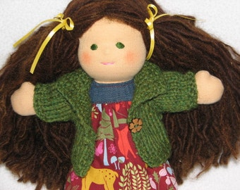 CUSTOM MADE Doll Sweater for 9 inch Doll hand knit in any color - shown is just a sample of colors many more to choose from