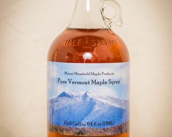 Half Gallon (GLASS BOTTLE) - 100% Pure Vermont Maple Syrup (Any Grade)