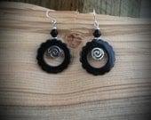 Black Swirl Spinner Sterling Silver Earrings, Black Hoop Swirl Sterling Earrings, Black Swirl Hoop Sterling Silver Earrings