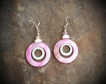 Pink Shell Spinner Sterling Silver Earrings, Pink Shell Earrings, Pink White Sterling Silve Earrings