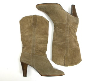 Leather Boots 70s Tan Suede Boots | Stacked Heel leather Boots, 8 38
