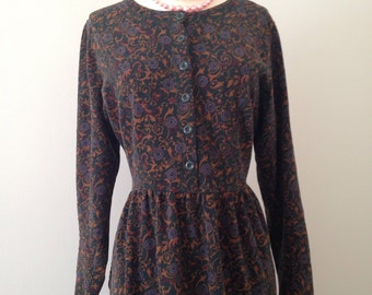 vintage 90s boho dress• navy blue• Ditsy Grunge Floral Dress L.L. Bean