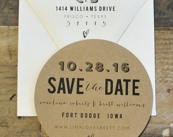 Circle Save the Date  - Ivory, Black and Kraft Brown  CUSTOMIZABLE