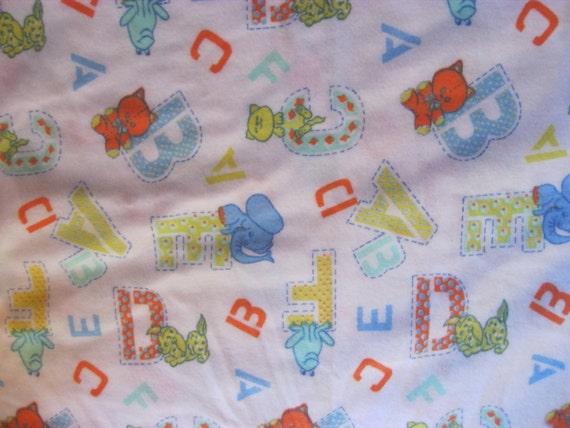 Abcs Cotton Flannel Fabric Baby Alphabet Animals Nursery