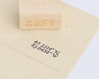 Detroit Latitude & Longitude Stamp : Michigan Wood Mounted Rubber Stamp