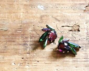 Hattie Carnegie earrings - rhinestone clip on earrings - 1950s vintage - signed - purple & green