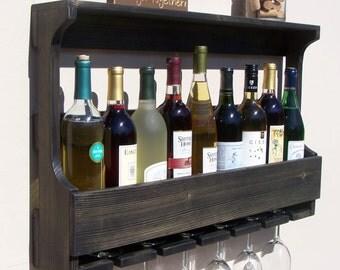 Rustic Wall Mount 9 Bottle Wine Rack With 6 Glass Holder, Ebony Finish