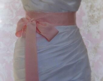 Peony Pink Sash, Petersham Ribbon, 2 Inch Wde Grosgrain Ribbon Sash, Light Pink Bridal Belt, Cherry Blossom Pink, 4 Yards