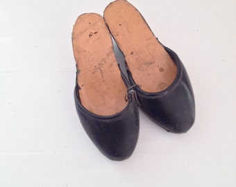 Vintage Children Clogs Portuguese Traditional Craft Leather and Wood