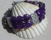 "Gemstone Crystal Heart Bracelet, Purple Amethyst ""Regal Heart"", Purple Bracelet, Heart Bracelet, Silver Bracelet, Chakra Bracelet, Aquarius"