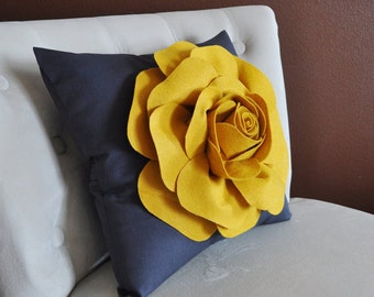 Rose Pillow Mustard Yellow on Grey 16 X 16