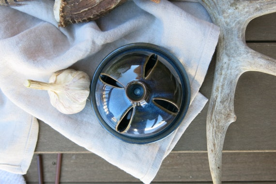 Oven Safe Garlic Roaster Handcrafted Porcelain Ceramic in Variegated Blue Gift Idea, Handmade Artisan Pottery by Licia Lucas Pfadt