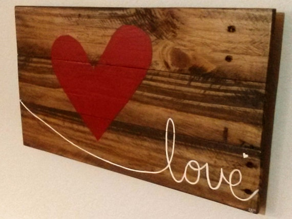 Red Love Wall Decor : Reclaimed wood red heart love wall hanging valentines
