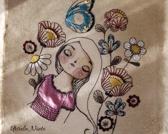 Sleeping Beauty. Embroidery Art - Handmade Textile Art - Hand Stitched Embroidery.  Original hand embroidered. OOAK