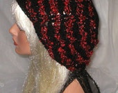 Crochet Womens Teens Black Red Black Textured Slouchy Hat Beret Slouch Hat