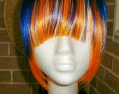 Long side Clip On In SYNTHETIC Hair Bangs BLUE / ORANGE mix