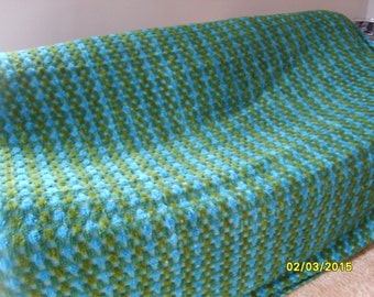 Chenille Bedspread, Chenille, Vintage Bed Spread, Bedding, Beadspread, Blue and Green