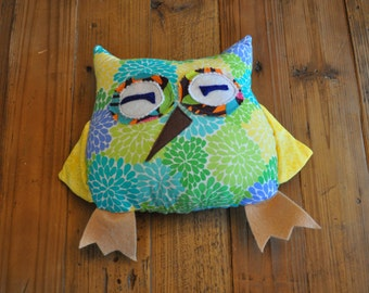 Turquoise and Yellow Floral Owl Plush