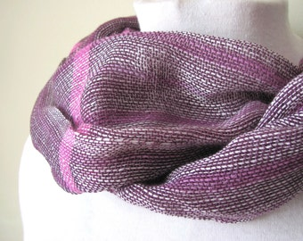 Spring Summer Fall Scarf, Lightweight Lacy Plum Purple & Pink Large Oversized Scarf Wrap, Womens Fashion Accessory, Artisan Hand Woven Scarf