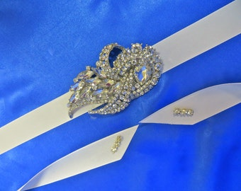 Rhinestone Bridal Sash, Wedding Gown Accessory, Bridal Crystal Sash,  Bridal Rhinestone Belt