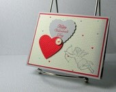 Valentine Card Handmade Cupid on Gray Hearts for Valentines Day Love