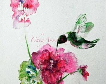 Bird Hummingbird Watercolor Art on paper Sweet little wild chuparosa bright fuchsia pink flowers WaterColour 8x8