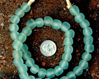 Ghana Glass Beads: Pale Green (13x13mm)