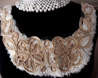 Neckline Applique Embellishment Necklace Ivory Chiffon Flower Embroidered Gold Metallic Braided Cord Flower ST 102914