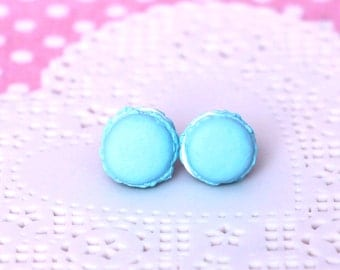 French Macaron Earring Studs - Blue