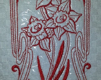 Art Nouveau Daffodil Embroidered Kitchen Towel