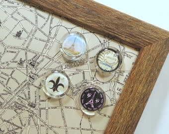 Wall Decor - Magnet Board - Magnetic Memo Board - Whiteboard - Framed Bulletin Board - Makeup Board - Paris Map Design - inclds mags