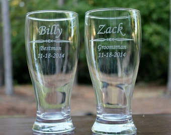 2 Personalized Engraved Pilsner glass, groomsman gift, beer glass, groomsman beer mugs, Best Man gift