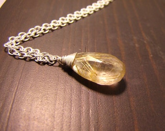 Gold Rutilated Quartz pendant chain Necklace. Sterling Silver gold fill rose goldfill