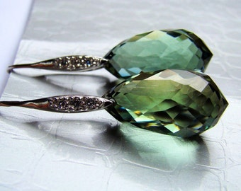 Sale Luxury Green Prasiolite Earrings sterling silver. Sage green Amethyst stones