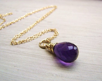 Sale Purple Amethyst Necklace Gold fill, Rose gold fill, sterling silver