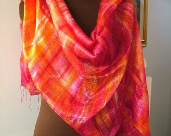 Vibrant Orange, Fuchsia and Pink Large Thai Silk Shawl Scarf Wrap Hand Painted