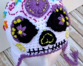 Sugar Skull Earflap Hat, Halloween, Day of the Dead, Dia de los Muertos, Women's Hat, Costume Hat, One of a Kind, Sugar Skull Costume, OOAK