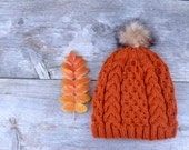 Cable and Honeycomb Knit Slouchy Beanie Hat in Pumpkin Orange with a Caramel and Brown Faux Fur Pom Pom, Women's Hat, Pom Pom Hat,