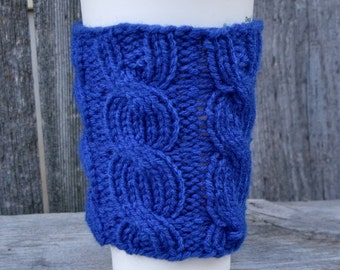 Cobalt Blue Coffee Cup Sleeve, Cable Knit Coffee Cup Cozy, Coffee Mug Cozy, Travel Mug Cozy, Royal Blue, Bright Blue, Knit Cup Cozy