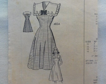1940s Fit & Flare Dress, Ruffle Sailor Collar, Sun Dress- UNUSED Vintage Anne Adams Original Mail Order Sewing Pattern 4834- Size 12 Bust 30