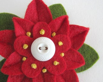Christmas Felt Flower Pin - Red Poinsettia with Vintage White Button and French Knots