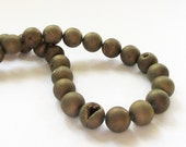 "Druzy Round Beads - Gold Titanium Pixie Dust - Coating Matte - Open Mouth Druzy Agate - Gemstone - 12mm - 7.5"" DIY Craft Jewelry"