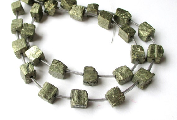 Pyrite Cube Beads Pyrite Crystal Beads Fools Gold Cube