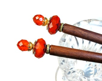 Juicy Tangerine Orange Hair Sticks, Hair Ornaments, Prom Hair Accessories, Set, PAIR