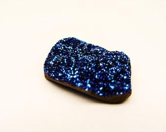 Druzy DARK Blue Cobalt Aura Quartz Cab #6