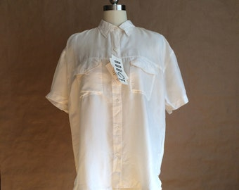 vintage 90's oversized short sleeve loosely worn silk blouse top shirt womens white