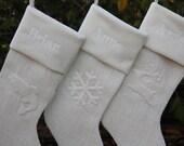 Three Custom Christmas Stockings, Burlap Christmas Stockings, Holiday Stockings - Woodland Theme