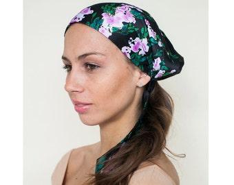 Black Head Scarf, Floral Turban Headcover, Boho Head Scarves, Headwear, Cotton Head Tie Scarf