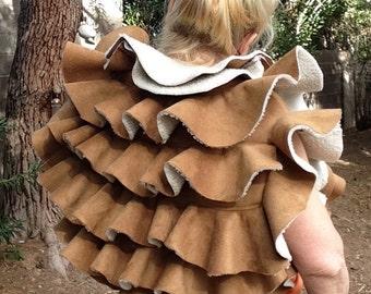 showdiva designs Ready to Ship! Dramatic Vegan Faux Shearling Multi Ruffle Vest