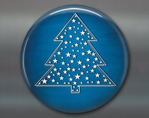 blue white christmas magnet, christmas tree fridge magnet, blue and white decor, christmas decoration, holiday decor, holiday magnet MA-1385